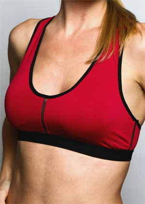 Burgundy/Black Peekaboo Sports Bra Front