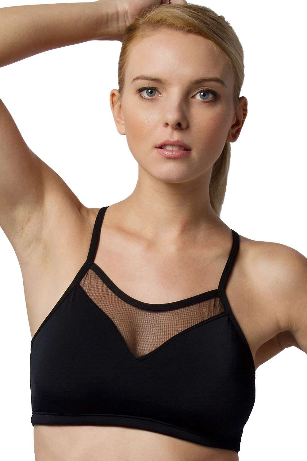 Push Up Sports Bra Black Front View