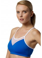 Push Up Sports Bra Blue Front View
